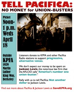 Jackson Lewis picket at KPFA